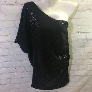 Windsor Black Sequin One Shoulder Mini Dress Top